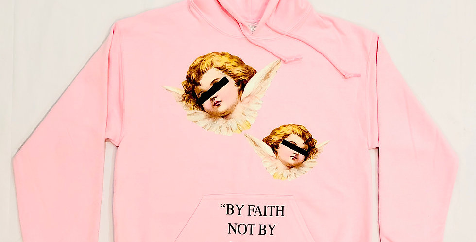 """""""By Faith, not by sight"""" hoodie (pink)"""