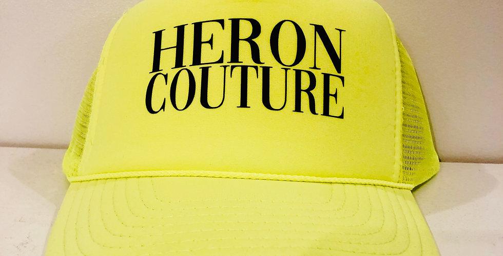 "Heron Couture ""signature"" trucker Hat (neon green)"