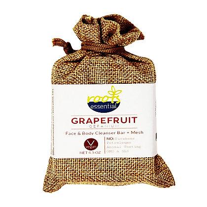 Grapefruit Geranium FACE & BODY CLEANSER BAR (VEGAN) + Mesh Scrub