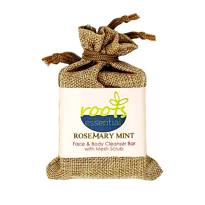 Rosemary Mint FACE & BODY CLEANSER BAR (VEGAN) + Mesh Scrub