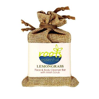 Lemongrass FACE & BODY CLEANSER BAR (VEGAN) + Mesh Scrub