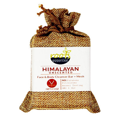 Himalayan FACE & BODY CLEANSER BAR (VEGAN) + Mesh Scrub