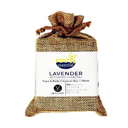 Lavender FACE & BODY CLEANSER BAR (VEGAN) + Mesh Scrub