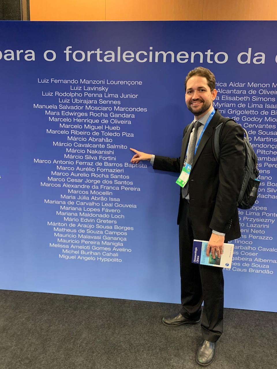 Painel de reconhecimento da ABORL para os organizadores do Congresso Brasileiro de Otorrino. Dr Márcio Salmito representando a Otoneurologia.