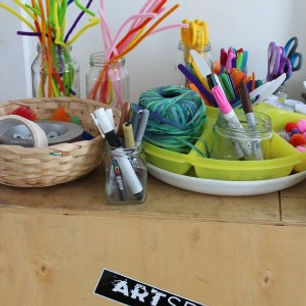 A variety of different art materials