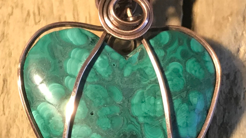 Double sided Malachite Heart