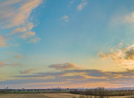 Fotografieren des Sonnenuntergangs über Wien