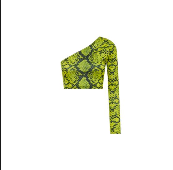 Neon Snakeskin Aysmetrical top