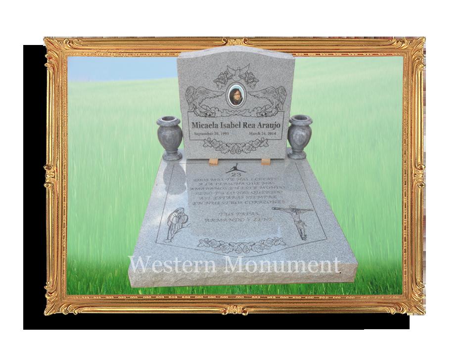 Upright monument with ledger, Restheaven Park, Gltndale, AZ