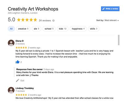 Creativity Art Workhops testimonials