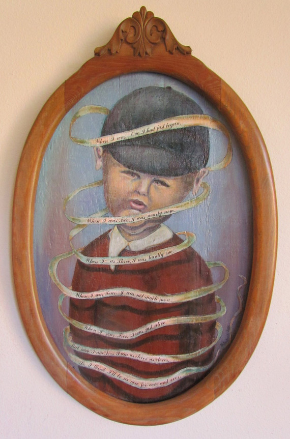 """Six Years Young 29"""" X 19"""" acrylic and mixed media"""