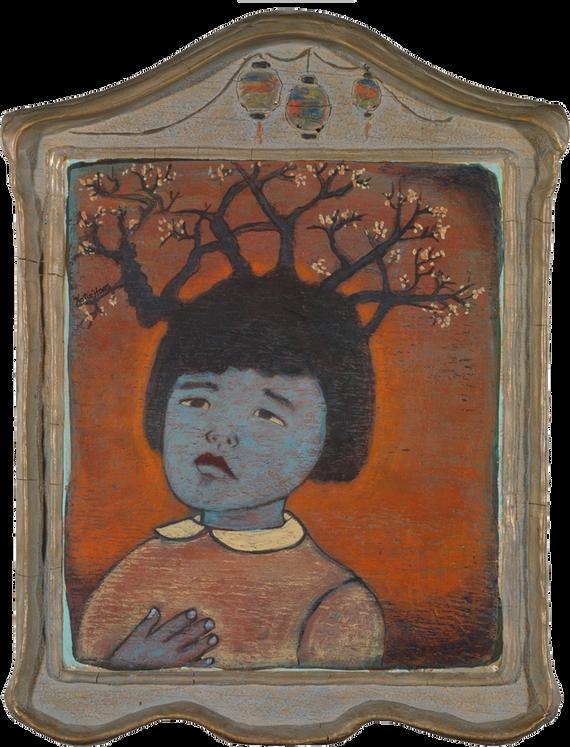 """Dear Kiko 17"""" X 12"""" acrylic on vintage carved frame"""