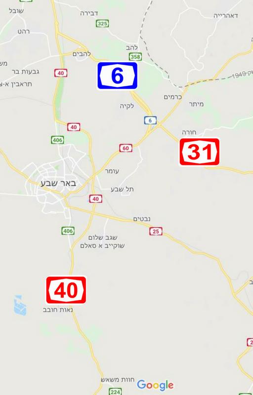 מפת כבישים מרכזיים בנגב