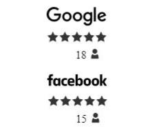 דוגמא לשילוב המלצות מגוגל לעסק שלי ופייסבוק באתר