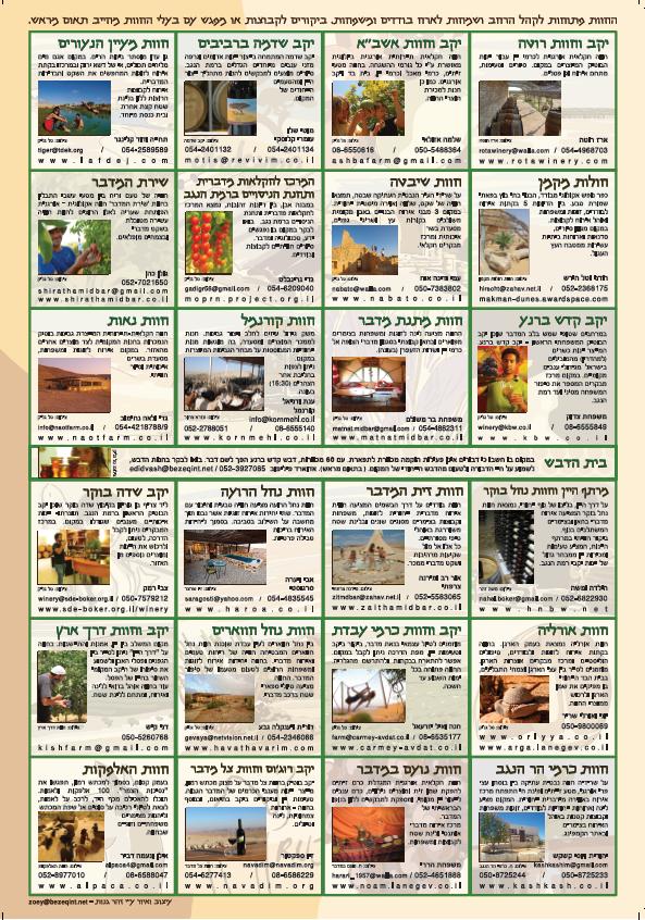 רשימת חוות דרך היין בנגב
