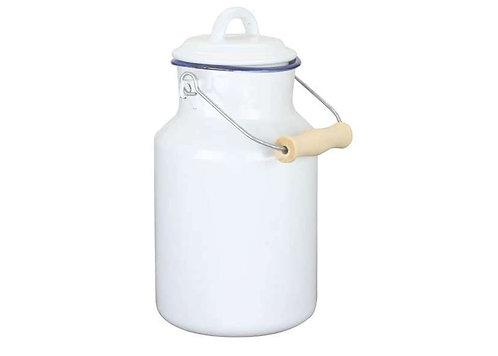 בקבוק עם מכסה  וידית לחלב מאמייל לבן 2 ליטר