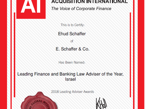 Adv. Ehud (Udi) Schaffer Named Leading Finance & Banking Law Adviser of the Year, Israel