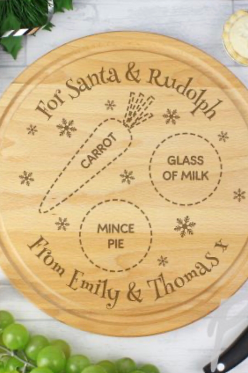 Wooden Christmas Eve Plate
