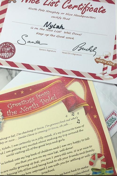 Santa letter & nice list
