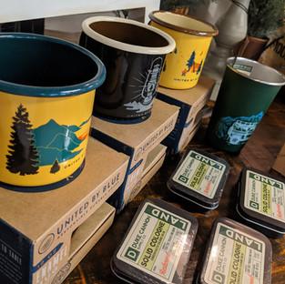 United by Blue enamel mugs
