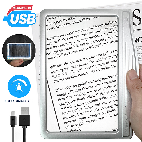 Rechargeable 3X Large Ultra Bright LED Page Magnifier with 12 Dimmable LEDs