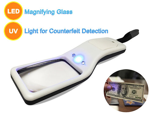 5X Portable Magnifier-Multifunctional Portable LED Magnifying Glass & UV Light