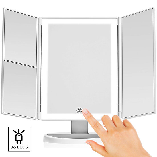 Tri-Fold Vanity Makeup Mirror with Anti-Glare LED & 3X 2X 1X Magnification Panel
