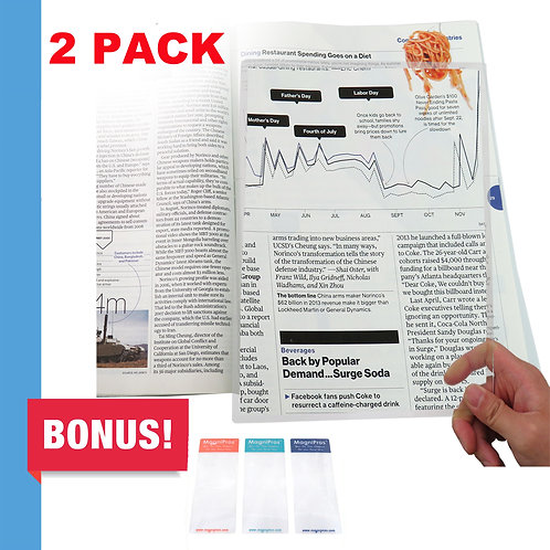 (2 Pack) Large Full Page 3X Magnifier Magnifying Sheet with 3 Bonus Bookmarks