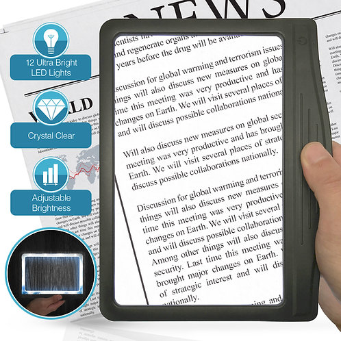 3X Large Ultra Bright LED Page Magnifier with 12 Anti-Glare Dimmable LEDs