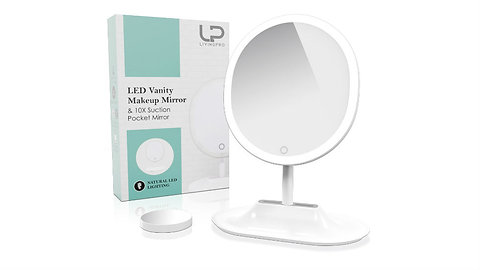 Vanity Makeup Mirror with Upgraded Anti-Glare LED Lighting Controlled by Dimmabl