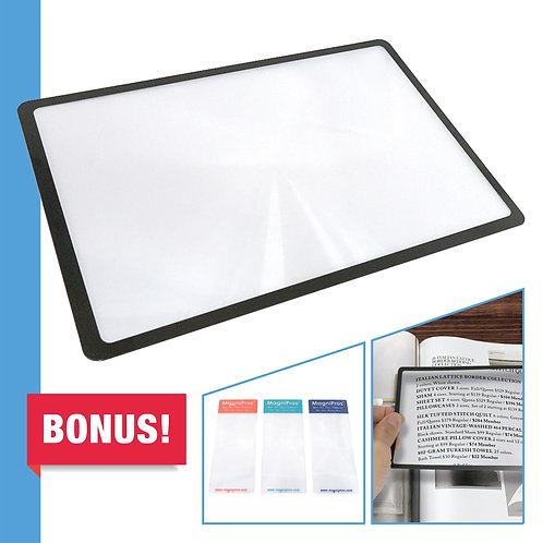 3X(300%) Page Magnifying Lens with 3 Bonus Bookmark Magnifiers