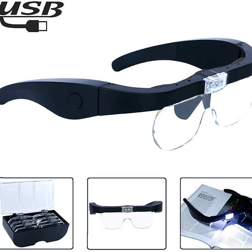 Rechargeable Head Magnifying Glasses with 2 LEDs & 4 Detachable Lenses
