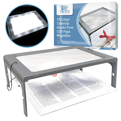 3X Large Full Page Magnifier with 12 LED Lights, Foldable Flip-Out Legs