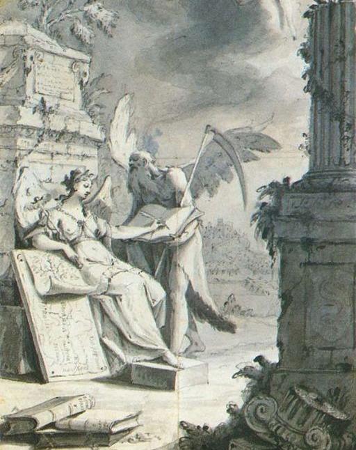 """""""A musa Clio escrevendo a História"""" (c. 1763), de Franz Ignaz Gunther."""