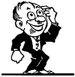 Cartoon character with finger pointing to his brain.