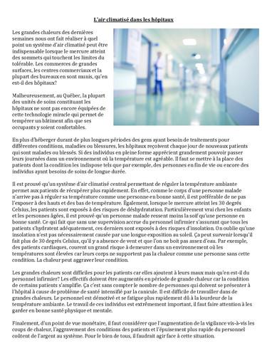 L'air climatisé dans les hôpitaux