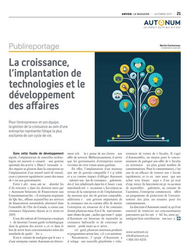 La croissance, l'implantation de technologie et le développement des affaires