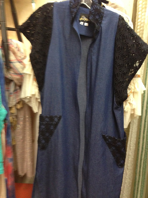 Denim Black Lace Duster