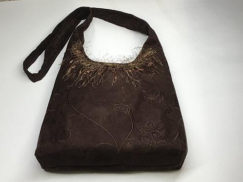 Brown Suede Hobo Bag