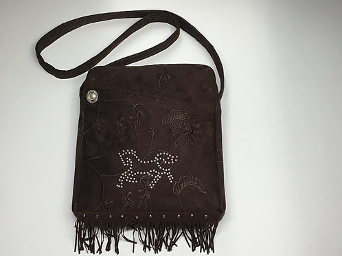 Brown Suede Horse Shoulderbag