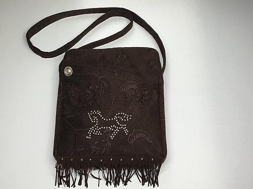 Brown Suede Horse Shoulderbag