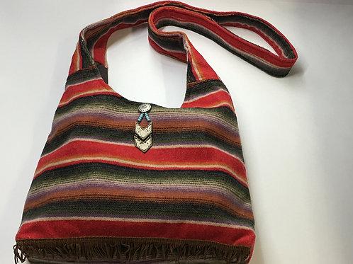 Saddle Stripe Red Hobo Bag