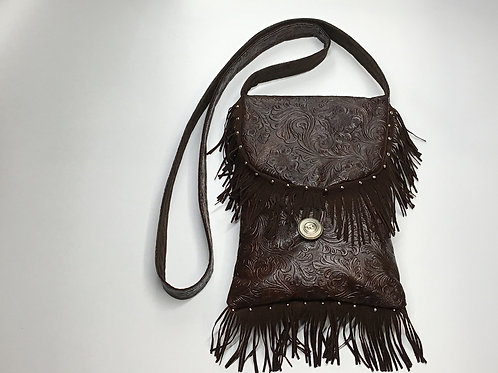 Brown Tooled Fringe Shoulder Bag