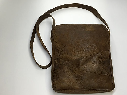 Brown Faux Leather Saddlebag