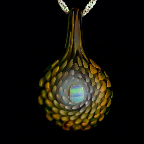 24K GOLD & PURE SILVER GLASS OPAL PENDANT