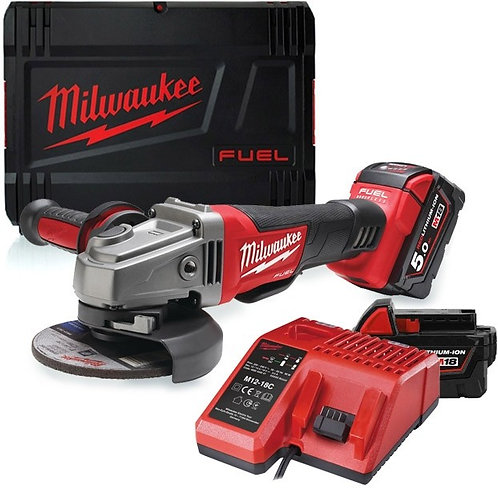 MILWAUKEE BRUSHLESS ANGLE GRINDER + 2 X 5Ah BATTERIES