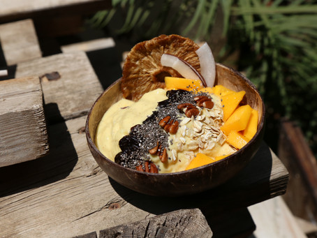 Spiced Mango Pina Colada smoothie bowl from the spiced islands