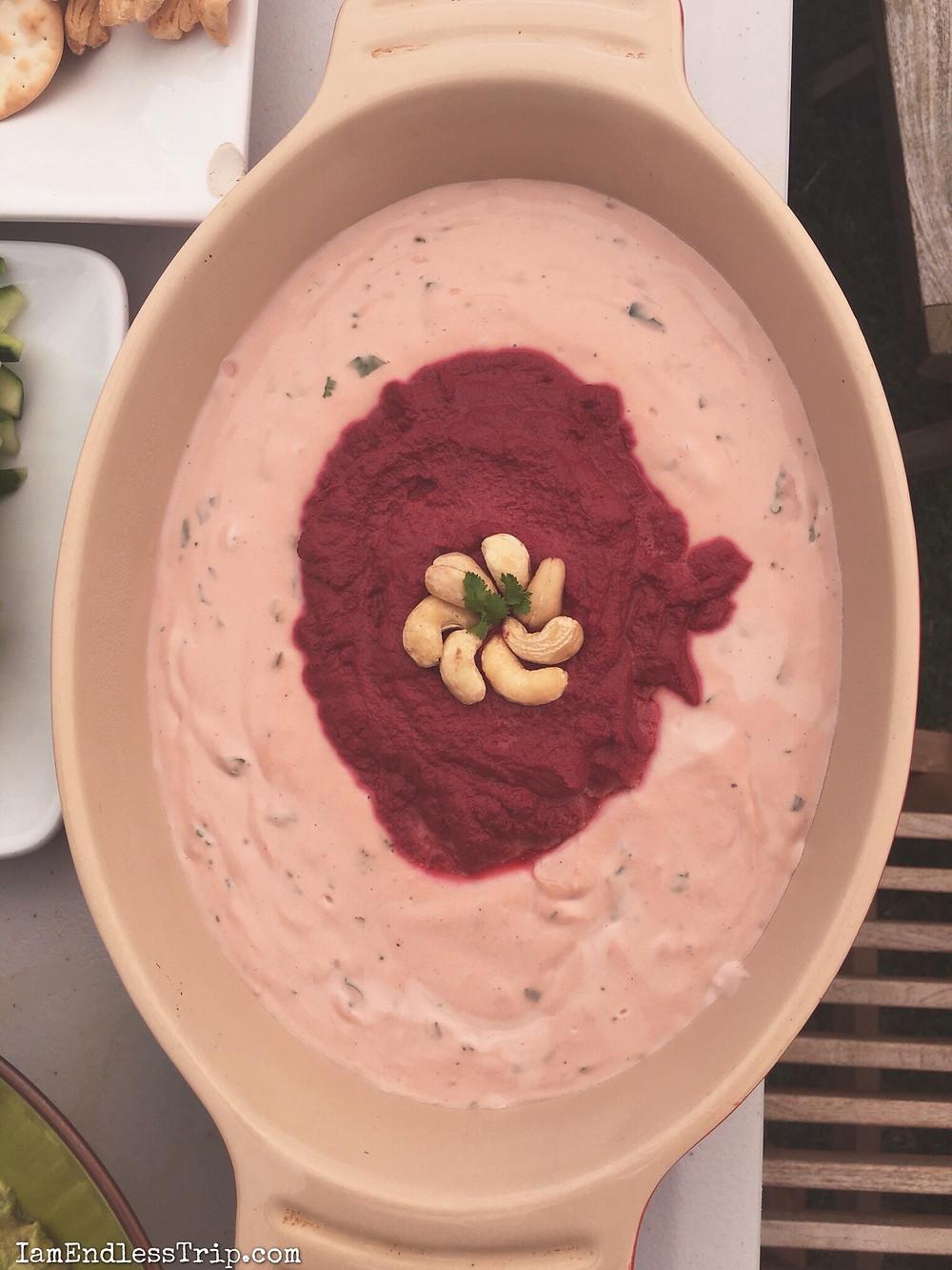 Beetroot Tahini & Beetroot Cashew dip recipe by endless trip