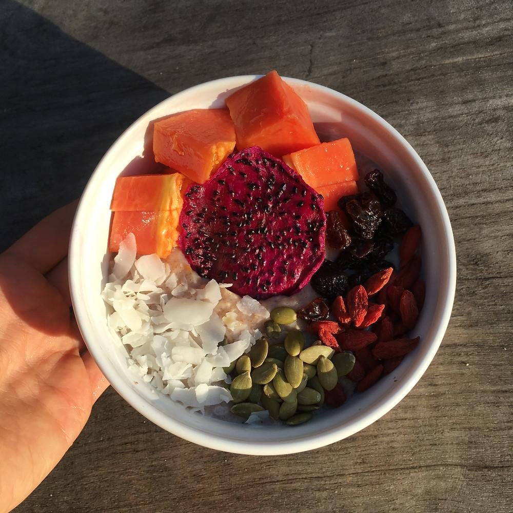 Overnight Oats with Papaya, Dried Dragon fruit, Goji Berries, Raisins, Pepitas and Coconut Shreds