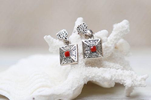 Red Coral Love Earrings